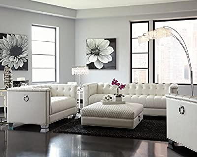 Coaster Chaviano Tufted Sofa Set in White