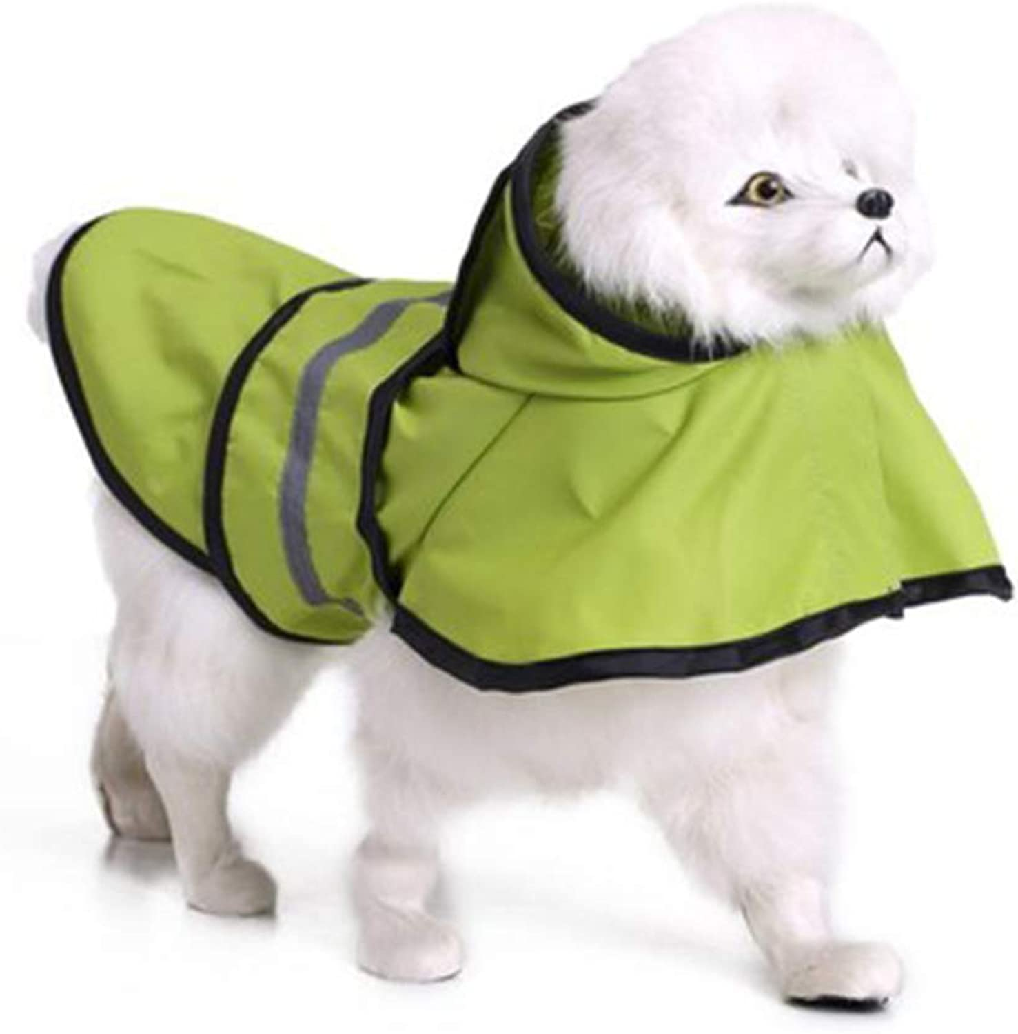 Fashion Reflective Stripes Raincoat Pet Rainy Days Slicker Waterproof Clothes Waterproof Ultra Light Breathable Raincoat Rain Jacket for Small and Medium Dogs,L
