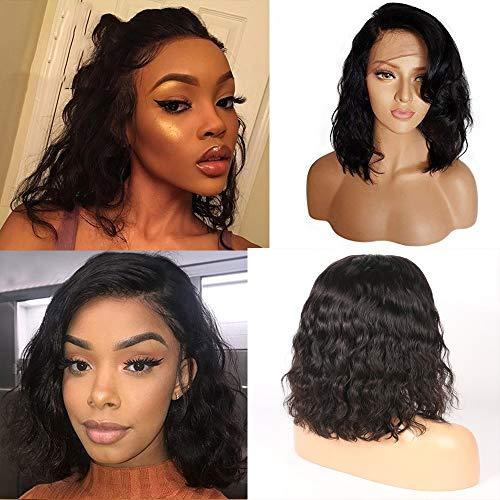 Rubyonly 100% Cheveux Humains Vague de Corps Avant de Dentelle Perruques de Cheveux Humains Courte Perruque Bob pour Les Femmes Noires du Brésil Remy Cheveux naturels Noir Pré plumé,14inch