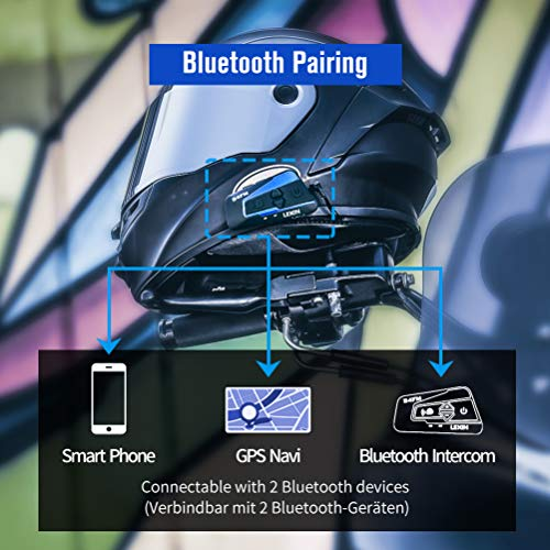 LEXIN B4FM 2X Motorrad Bluetooth Headset, Helm Intercom Geräuschreduzierung, Kommunikationssystem für Motorräder, Freisprechanlage bei Motorradfahren und Skifahren - 4