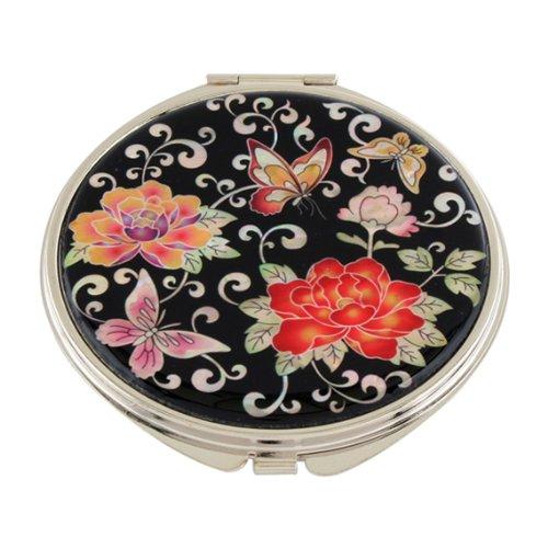 Miroir de Poche Nacre Maquillage Grossissant Sac à main Art Corée PIVOINE ROUGE