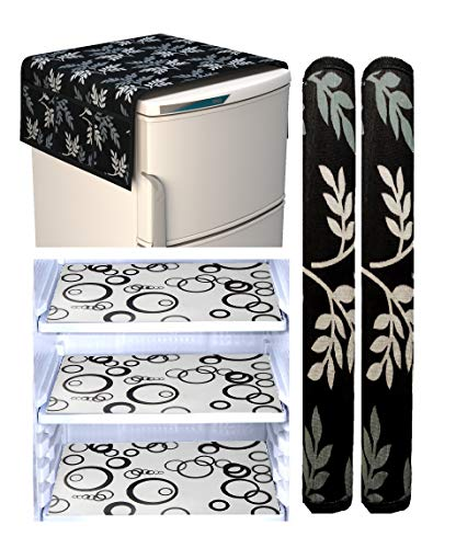 Factcore™ Combo of Refrigerator Cover(Black Leaf), 2 Handle Cover (Silver) and 3 Fridge Mats (Black Classic) Standard Size; -Set of 6 Pieces