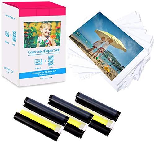 MarkField Compatibile carta fotografica di ricambio Canon Selphy KP-108IN CP CP1300 CP1200 CP1000 CP910 CP810 CP780, 3115B001 (AA) inchiostro 3 cartucce 108 fogli carta, 148 x 100 mm