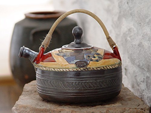 Handmade Ceramic Teapot. Wheel Thrown Tea Pot, Artistic Pottery, Earthenware Teapot with Unique Willow Handle