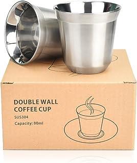 WANTOUTH Lot de 2 tasses à expresso à double paroi isolées en acier inoxydable résistant à la chaleur, 80 ml (argent)
