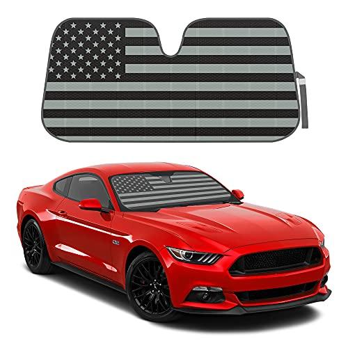 Patriotic Monochrome USA Flag Front Windshield Sunshade- Double Bubble Accordion...