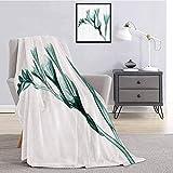 Xray Flower Decor Collection - Manta de franela de franela de felpa, imagen de flor sobre fondo simple inspirada en la naturaleza, impresión ligera y suave para sábanas y sala de estar W60