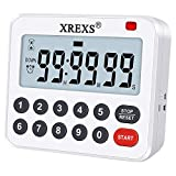 XREXS Digital Kitchen Timer Magnetic Countdown Up Cooking Timer Loud Alarm and Mute Optional, Magnet and Stand, Large Display Classroom Timer for Teachers (2 Batteries Included) Upgraded Version