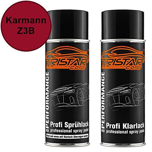 TRISTARcolor Autolack Spraydosen Set für Karmann Z3B Dunkelrot Basislack Klarlack Sprühdose 400ml