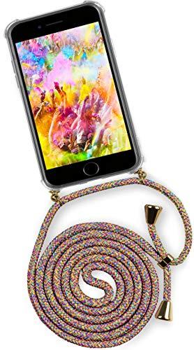 ONEFLOW® Handykette + Hülle passend für iPhone 7 / iPhone 8 | Stylische Kordel Kette - Kristallklare Handyhülle mit Band zum Umhängen in Regenbogen Bunt