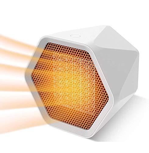 HYISHION Ventilador Calefactor,Mini Calefactor Portatil Fast Heater Calefactores cerámicos 1000W / Calor Viento&Viento Natural/Timer,Blanco