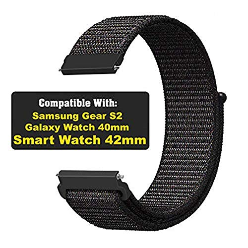 CellFAther® Compatible for 20mm Universal Watch Band, Replacement strap for Samsung Galaxy Watch Active 40mm/ Galaxy Watch 42mm SM-R810/R815/ Gear Sport/ S2 Classic Smart Watch for Women Men Black Large (Watch Not Included)