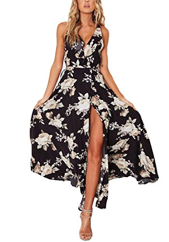 NERLEROLIAN Women's Summer Boho Backless Deep V-Neck Maxi Floral Dress for Casual Party