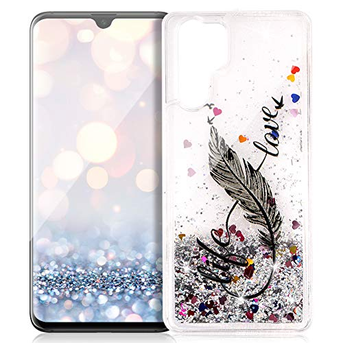 FNBK Funda compatible con Huawei P30 Pro, funda con purpurina, funda para teléfono móvil de lujo, suave, de TPU, carcasa de silicona con diseño de flores, Schwarz 8 Wörter