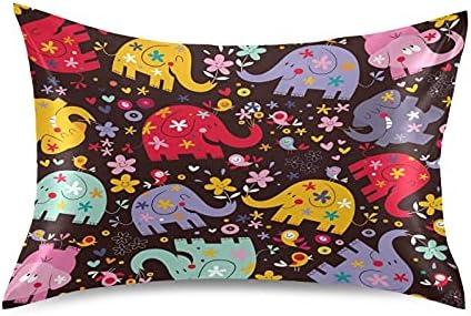 Meetutrip Cute New arrival Cartoon Floral Max 73% OFF Elephant Satin Covers Pillowcase E