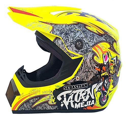 CXLL Casco de moto con diseño de locomotora completa para BMX ATV Downhill Scooter para adultos, casco de motocross con gafas/máscaras/guantes/red de casco (S, amarillo fluorescente)