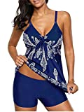 Century Star Athletic Two Piece Swimsuits for Women Tummy Control Swimwear Paisley Printed Bathing Suit with Boyshorts 01-Navy Blue 8-10