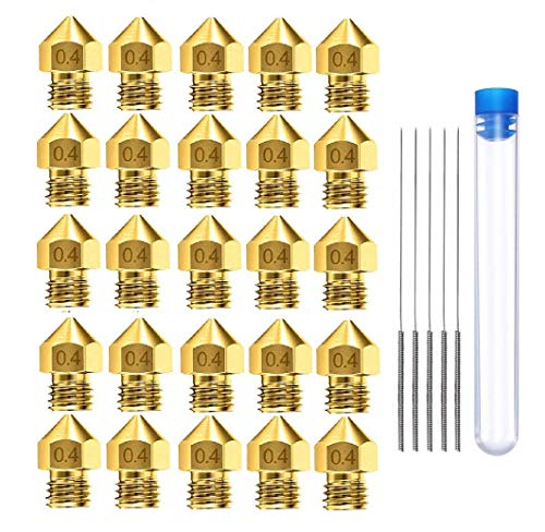 AJSPOW 25PCS 0.4mm 3D Printer Extruder Brass Nozzles for Makerbot MK8 Creality CR-10 Ender 3 3Pro 5 with 5PCS 0.4mm Stainless Steel Nozzle Cleaning Needles and Storage Box