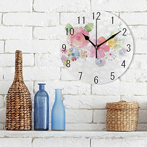 Watercolor Floral Silent Round Wall Clock,Flowers Non-Ticking Decorative Battery Operated Quiet Clock for Living Room Home Office School Kitchen,Small, 9 Incl Desk Clock