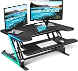 ComHoma 36 inch Standing Desk Converter -Stand Up Height Adjustable Desk Riser-Computer Home Office Ergonomic Desk Table for Dual Monitors and Laptop Workstation with Keyboard Tray-Black