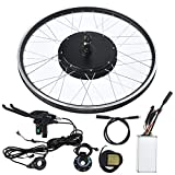Focket Kit de Bicicleta Eléctrica,Rueda 20 Pulgadas 48V 1000W KT-LCD5 Pantalla Eléctrica Bicicleta Conversión Kit Kit de Control de Motor de Alta Potencia con Controlador Potente(Cassette Trasero)