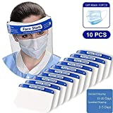 [FAST DELIVERY] Safety Face Shield Reusable Full Face Transparent Breathable Visor Windproof Dustproof Shield With Protective Clear Film Elastic Band [10 Pack]