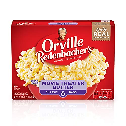 Orville Redenbacher's Movie Theater Butter Microwave Popcorn, Gluten Free, 3.29 Ounce Classic Bag, 6-Count, Pack of 6