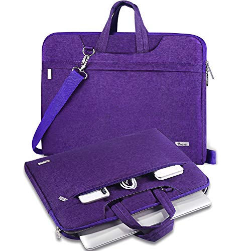 V Voova Laptop Bag Sleeve 14 15 15.6 inch with Shoulder Strap,Women Computer Carring Case Cover Compatible with MacBook Pro 16,HP Pavilion 15.6,Dell Inspiron 15 3000,Acer ASUS Chromebook 14,Violet