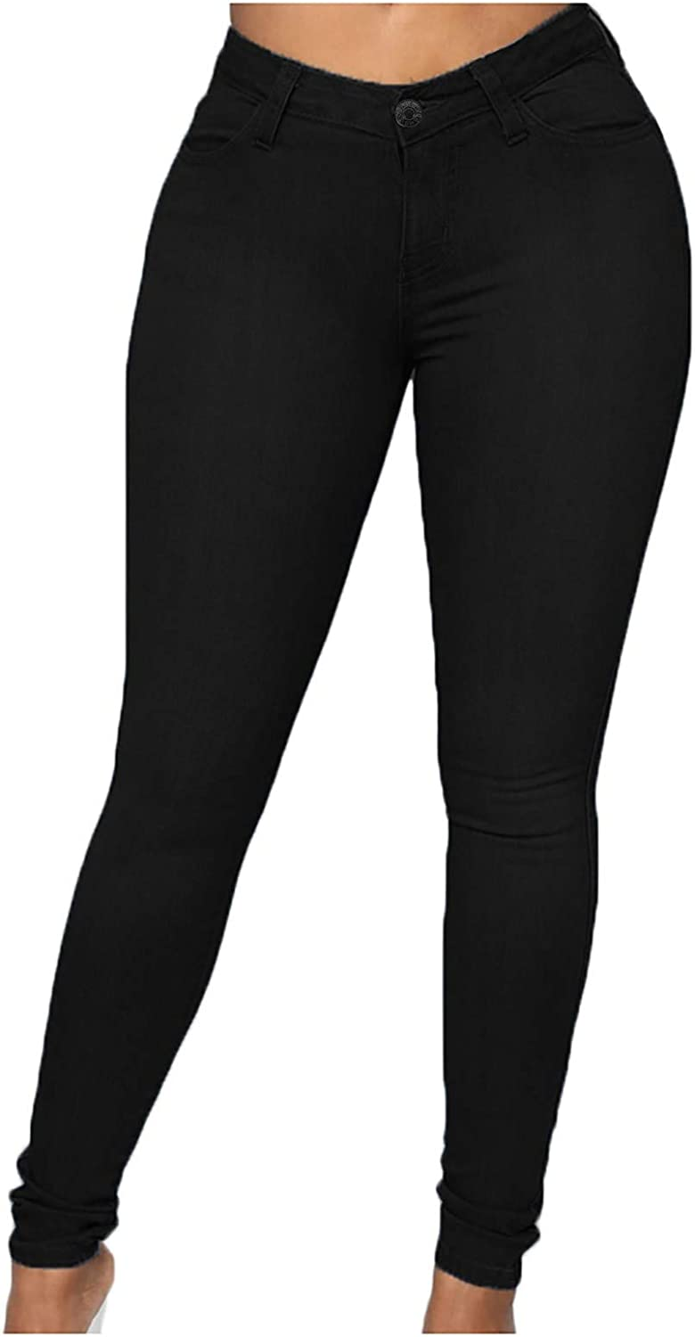 Maryia Womens Classic Solid Casual Denim Pants High Waisted Butt Lifting Stretchy Skinny Jeans Pencil Pants Plus Size Black