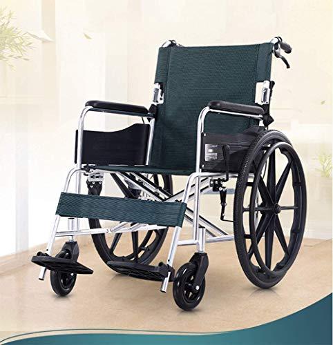 IREANJ Aluminio silla de ruedas, ligero y plegable marco, Operadora Impulsado silla de ruedas, silla de Tránsito portátil de viaje, desprendible del respaldo, Almohada acolchada Ampliación sil