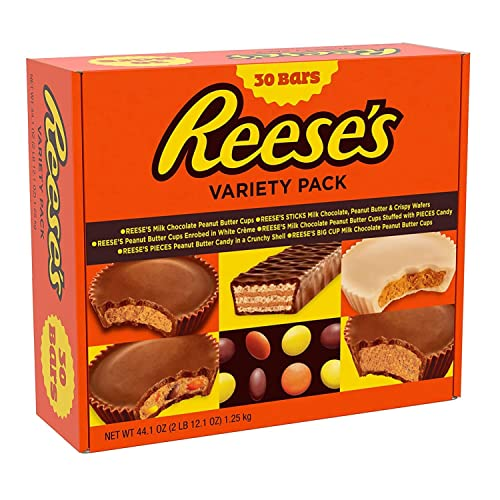 REESE'S Halloween Candy, Chocolate Peanut Butter Candy Variety Pack, Ships With Cool Packs, 30 count, 2.75 Pound Box, Full Size Bars