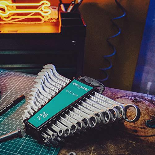 Extra Grosses Ring-Maulschlüssel Set 26tlg. 6-32mm von WIESEMANN 1893 I Schraubenschlüssel Satz im Werkzeug Halter I mit 15° abgewinkelte Ringseite für einfacheres Arbeiten I 80270 - 3
