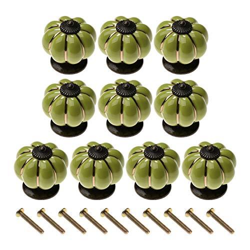 10 pomos de cerámica para puerta de calabaza, tiradores de armario, cajones, muebles de cocina, color verde