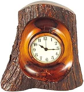 EuroLuxHome Mantle Mantel Clock Mountain Rustic Old Hickory Bark Resin New Quartz MOV