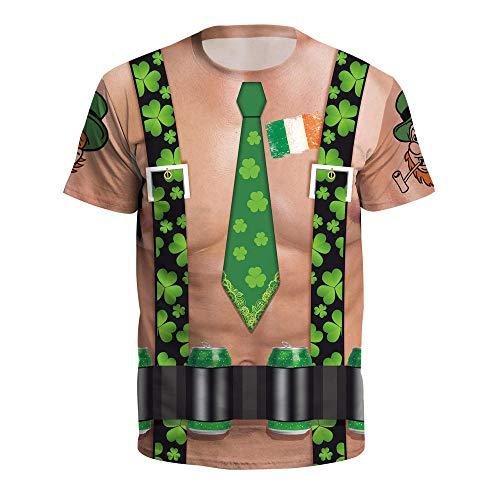 LGLZKA 3D T-Shirt Clover Digital Printed Round Neck Short Sleeve Couple...