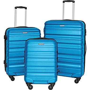 3 PC Luggage Set Durable Lightweight Hard Case Spinner Suitecase LUG3 SS559A BLUE