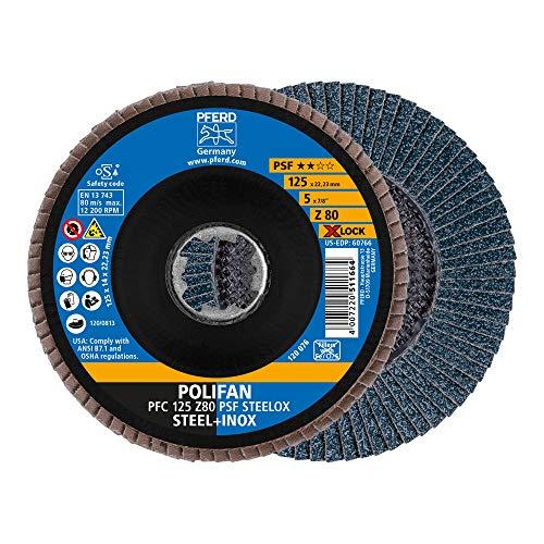 PFERD Fächerscheibe POLIFAN, 10 Stück, 125mm, Z80, X-LOCK (22,23 mm), PSF STEELOX, 67668126 – für hohe Wirtschaftlichkeit durch aggressive Zerspanung bei guter Standzeit