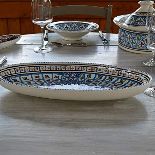 Plat ovale Bakir turquoise - L 30 cm