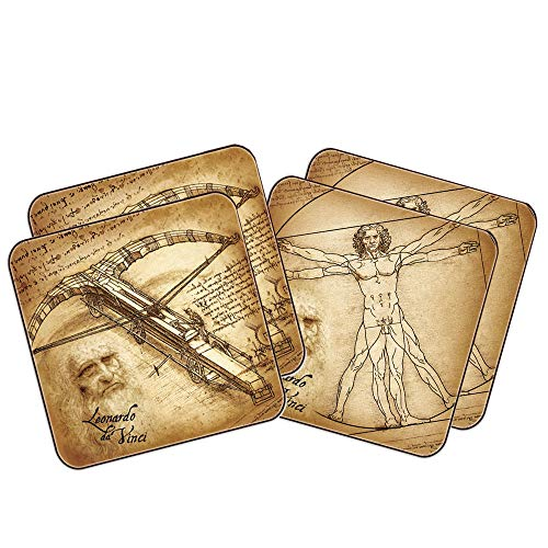 Carmani - Mit Leonardo Da Vinci Gemälde Set 4 Küstenmotorschiff/Kork-Pad gedruckt