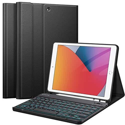 Fintie beleuchtete Tastatur Hülle für iPad 10.2 2020/2019 (8. und 7. Generation) - Soft TPU Rückseite Gehäuse mit stifthalter, Abnehmbarer QWERTZ Tastatur mit Hintergrundbeleuchtung, Schwarz