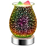 Hituiter 3D Glass Touch Electric Wax Melt Warmer with dimmable Wax Burner Melter Fragrance Scented Candle Warmer for Home Office Bedroom (3D Fireworks)