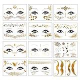 12 Stück Temporäre Tattoos Metallic Festival Face Tattoo Gesicht Gold für Frauen Mädchen