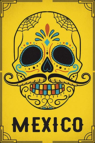 Mexico - Sugar Skull and Mustache - Yellow (36x54 Giclee Gallery Print, Wall Decor Travel Poster)