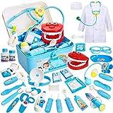 Buyger 35 Piezas Maletin Medicos Doctora Juguete Disfraz Doctora Kit Medicos Juego Accesorios Juego de rol Cumpleaños Regalos para Niñas Ninos 3 4 5 6 Años (Azul)