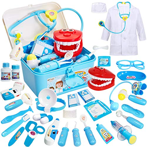 Buyger 35 Pcs Kids Doctors Set Case for Kids Educational Toys for 3 Year Old Boys Medical Play Fancy Dress Up Clothes for Boys