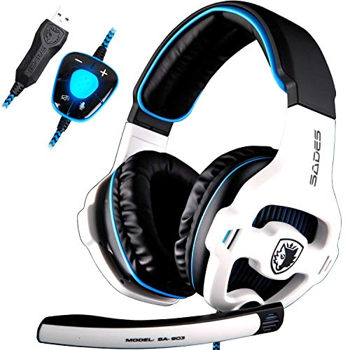 SADES SA903 Headset USB 7.1 Surround Sound Stereo Gaming Headset Over Ear Headphones for PC with Microphone Volume-Control LED Light (White)