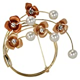 Crescent Crystal Flower Venetian Faux Pearl Brooch Pin - Gold