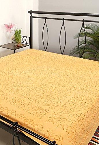 Rajrang Kantha Handarbeit Tagesdecke Baumwolle Licht Gelb Doppelzimmer Bettlaken
