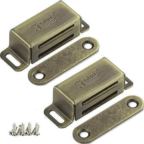 Magnetschnäpper Jiayi 2 Stück Tür Magnete für Schranktüren 6kg Magnetverschluss Schrank Türmagnete für Möbel Stark Möbelmagnete Edelstahl Türschließer Magnetschloss Metall Moebel Schrankmagnet Bronze
