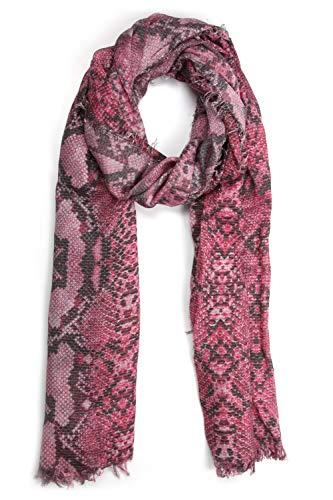 Collezione Alessandro Italiaanse sjaal Snake met slangenprint en glinsterende garen 188 cm x 71 cm